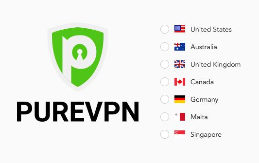 Illustration : Pays disponibles pour une IP statique exclusive chez PureVPN