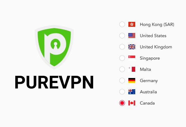 illustration : Pays avec IP statiques proposés par PureVPN