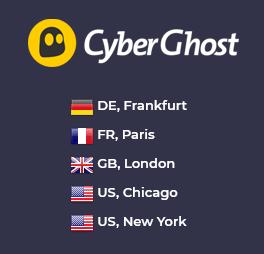Illustration : Pays disponibles pour une IP statique dédiée chez CyberGhost
