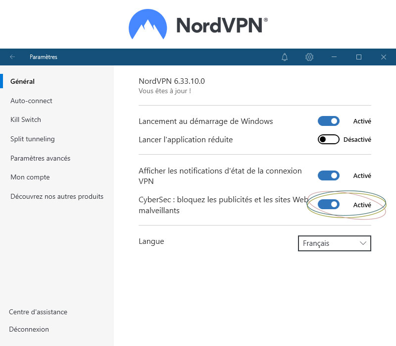 Illustration : Activer CyberSec, l'anti pub intégré de NordVPN