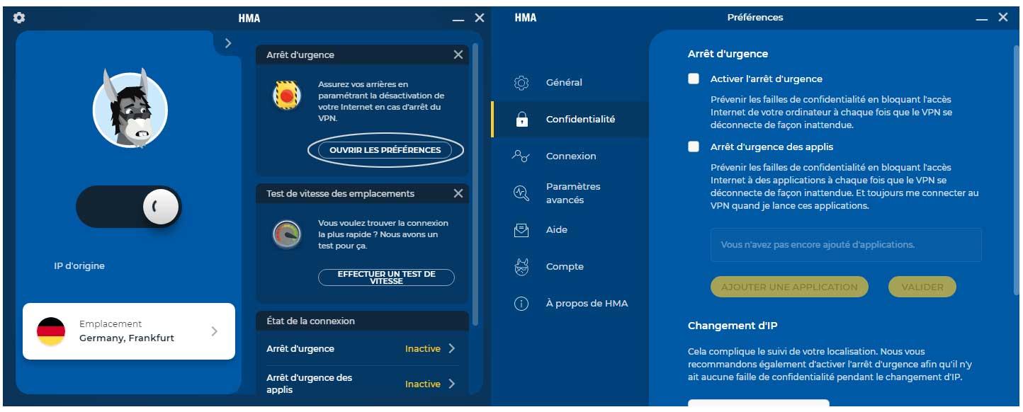 fenêtre de paramètres du VPN HMA