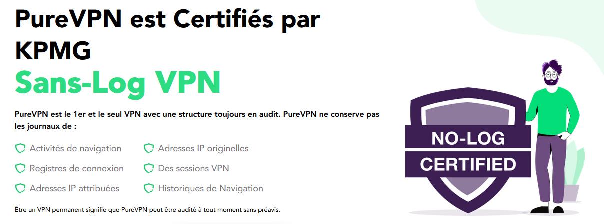 Illustration : PureVPN certifié VPN sans logs