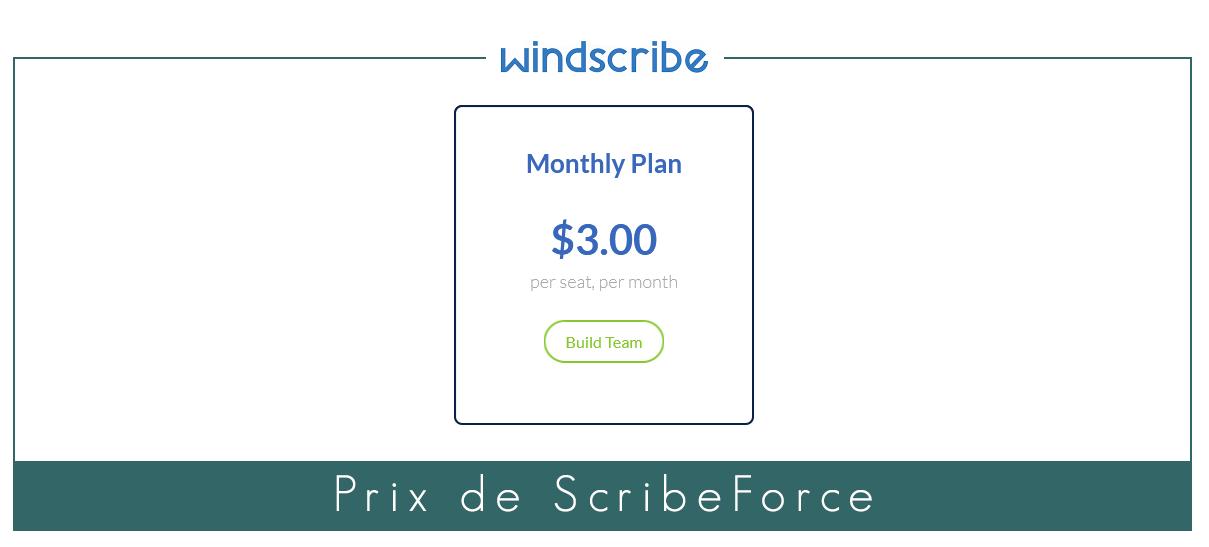 Illustration : Prix du VPN d'entreprise de Windscribe