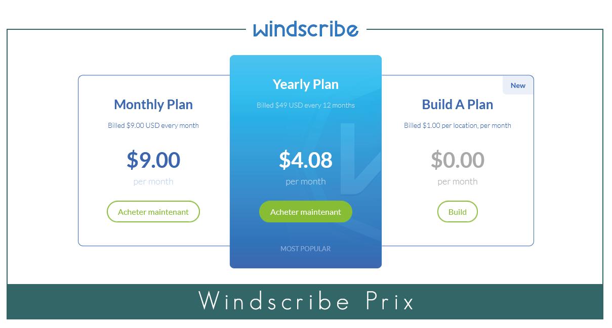 Windscribe prix