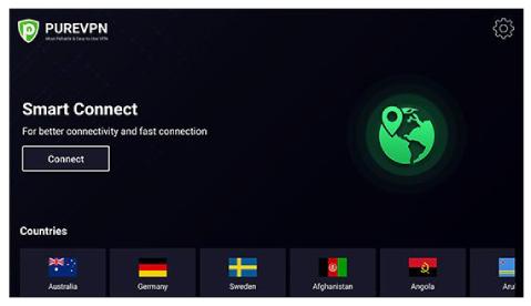Illustration : Application native de PureVPN pour Android TV