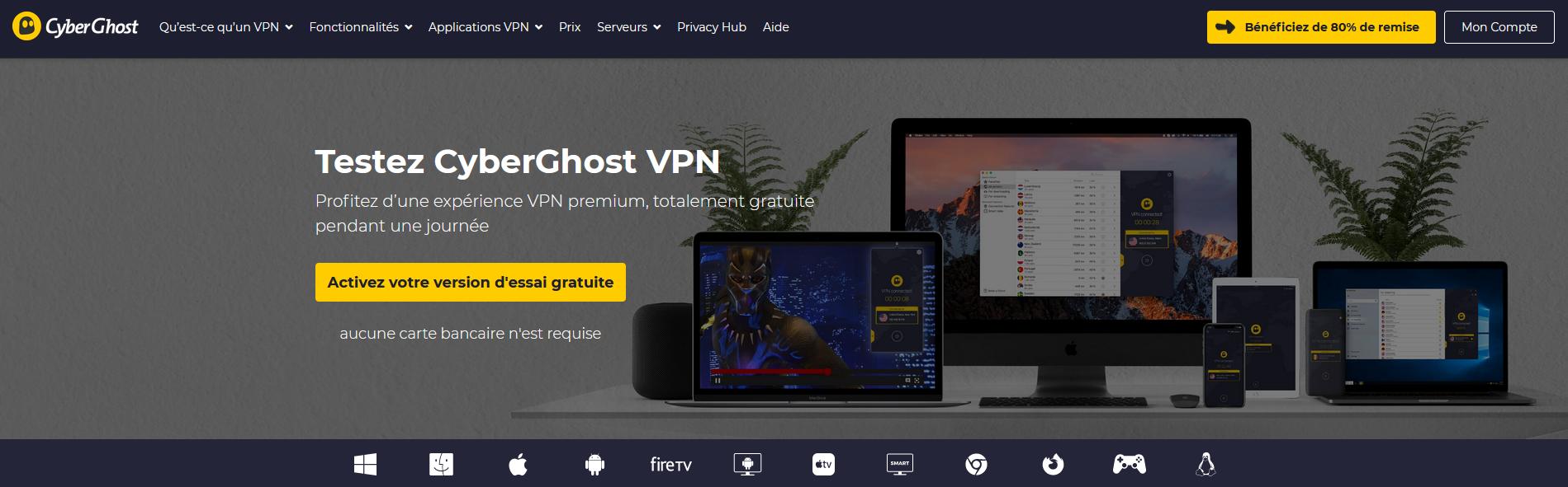 Illustration de la page d'activation de CyberGhost pour un essai gratuit