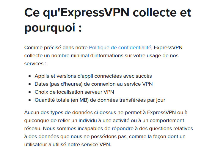 Illustration : Informations non-collectées par ExpressVPN