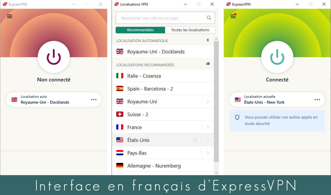 illustration : interface expressVPN en français