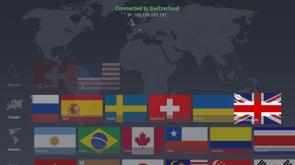 Illustration : Interface de ProtonVPN pour Android TV