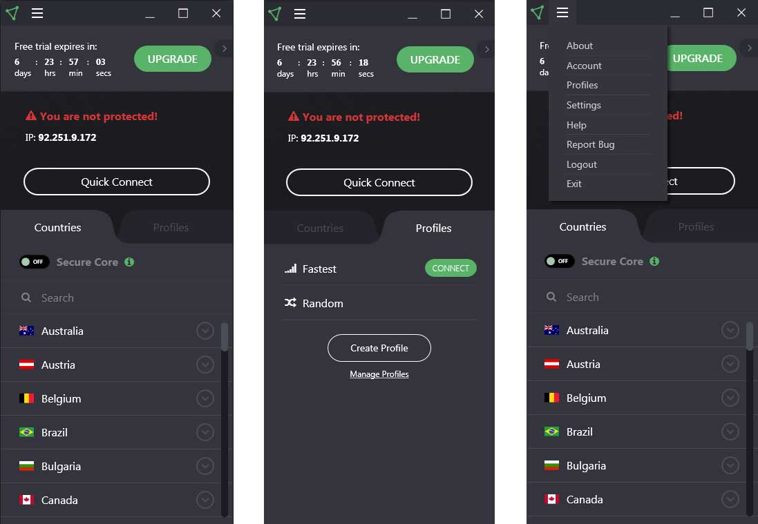 VPN Free Proton VPN : interface