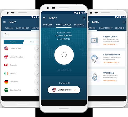 interface d'Ivacy sur smartphone