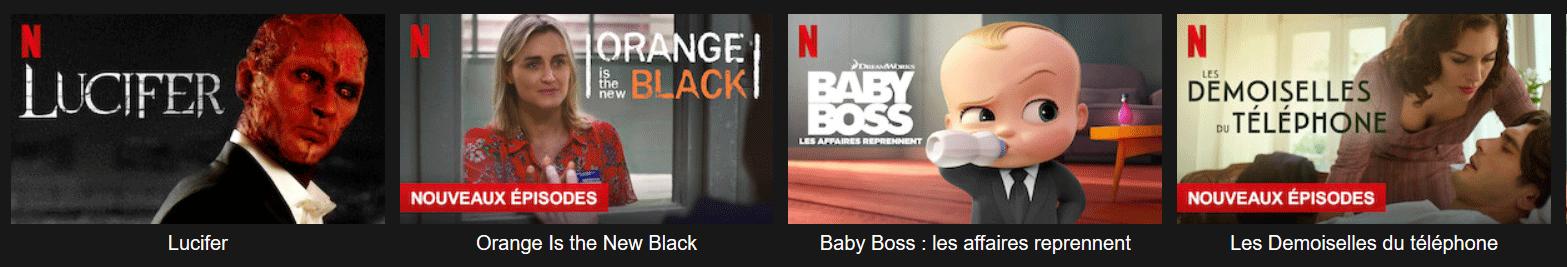 APerçu de certains des programmes disponibles sur Netflix