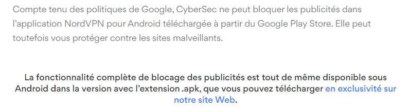 Illustration : télécharger l'adbloqueur NordVPN pour android