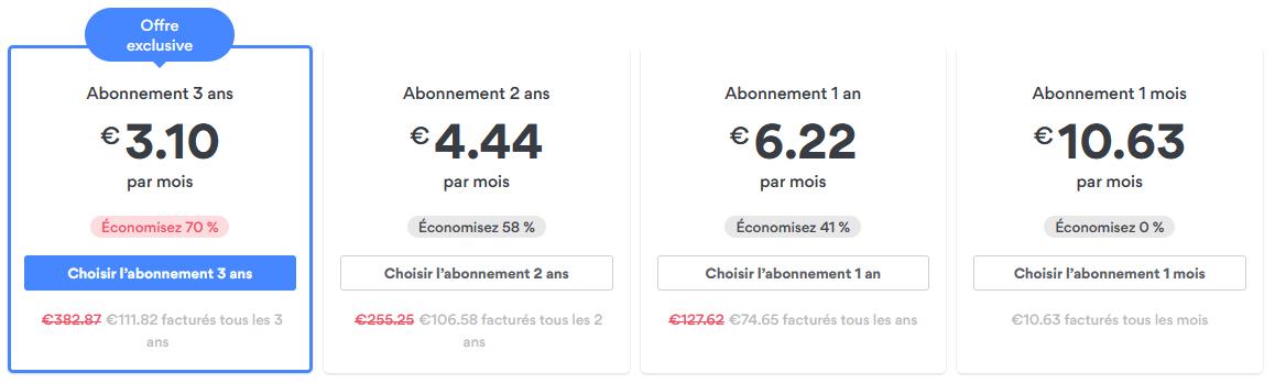 NordVPN nouveaux tarifs 2020