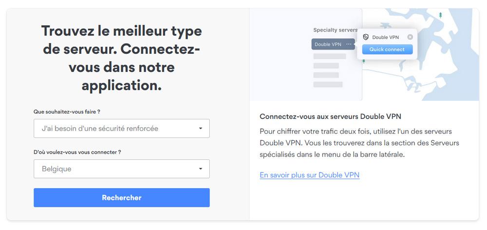 Illustration : outils de recherches de serveurs spécifiques chez NordVPN