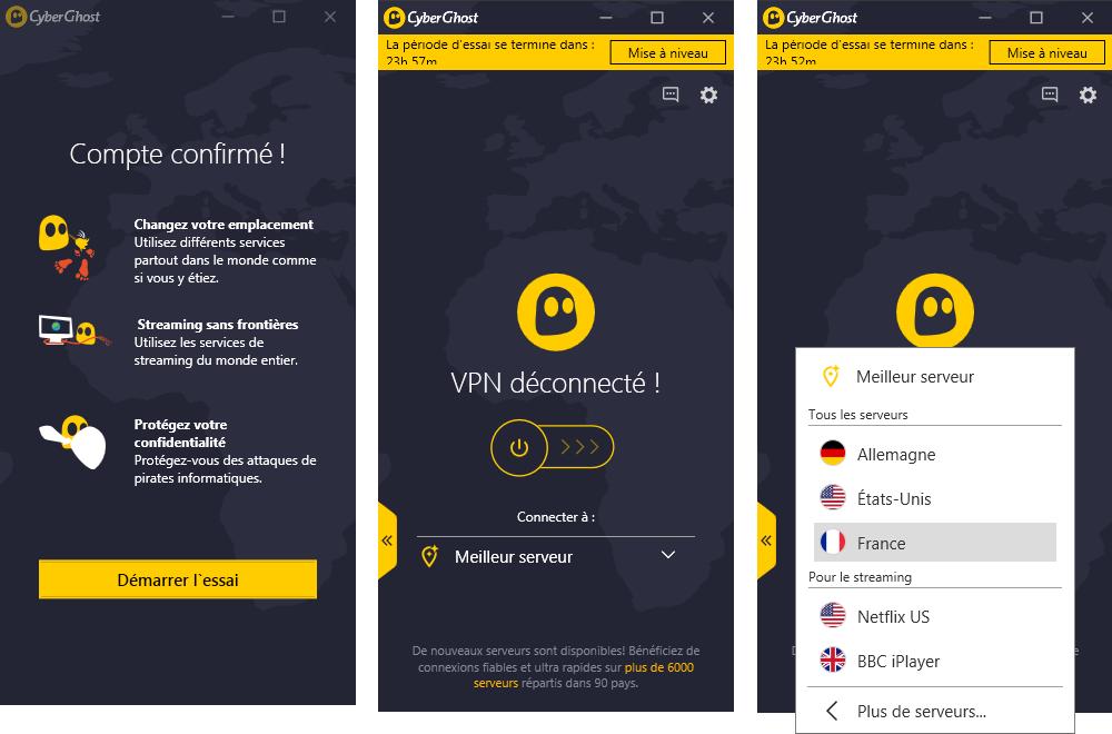 première approche avec le VPN Cyberghost