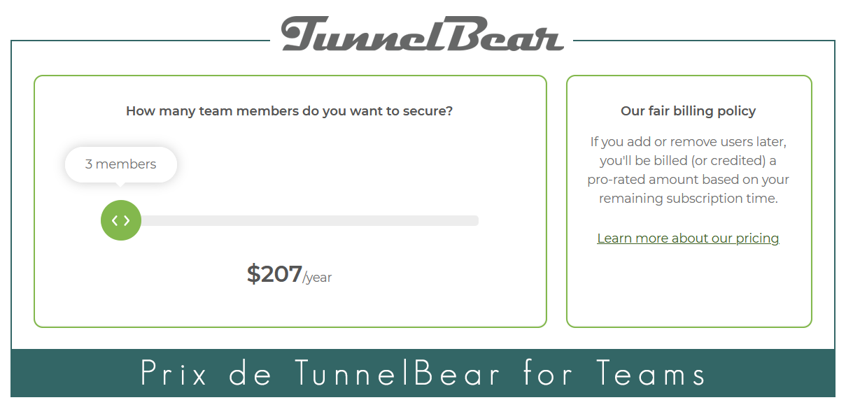 Illustration : Prix du VPN a usage professionnel TunnelBear