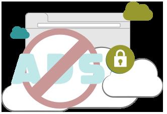Illustration : VPN bloqueur de publicités et de malwares