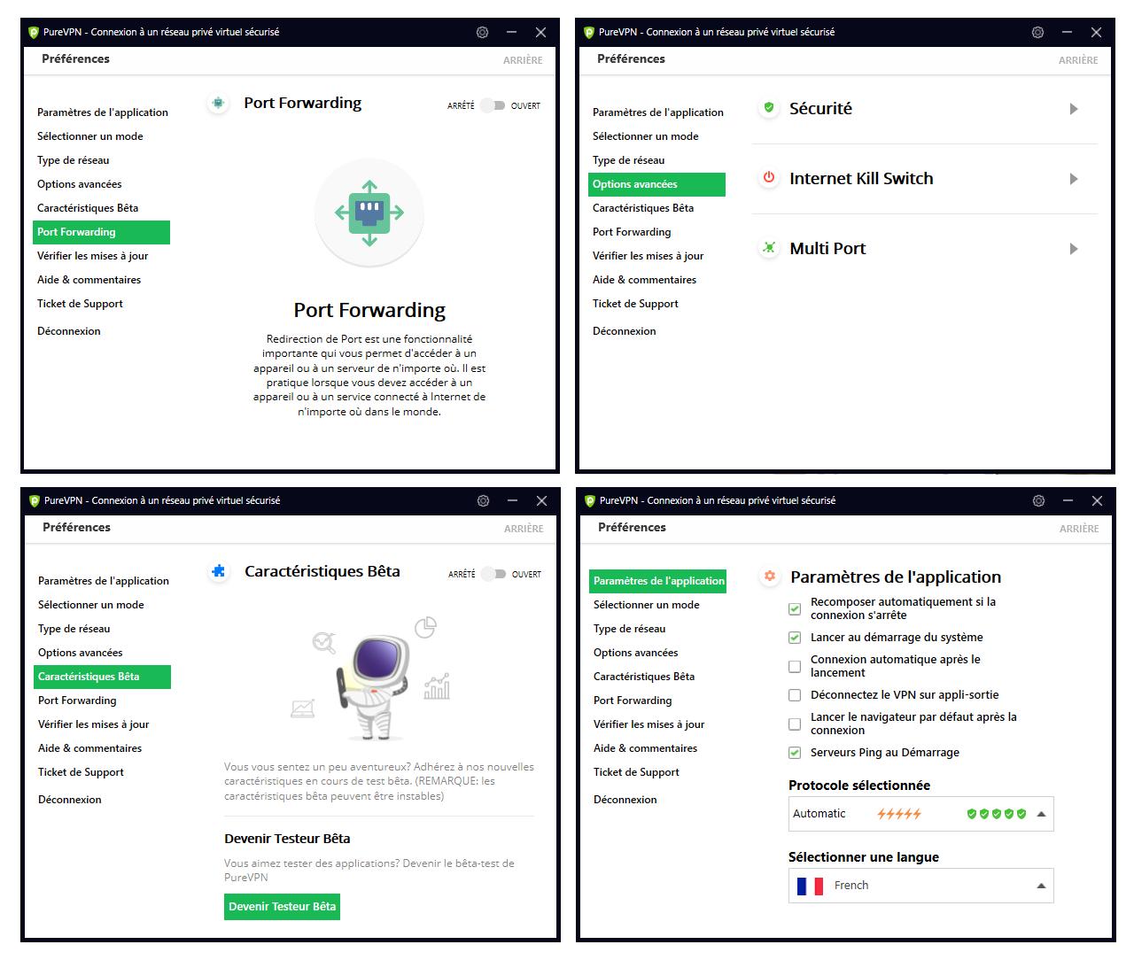 Illustrations VPN pour les nuls : Aperçu de certains paramètres de PureVPN