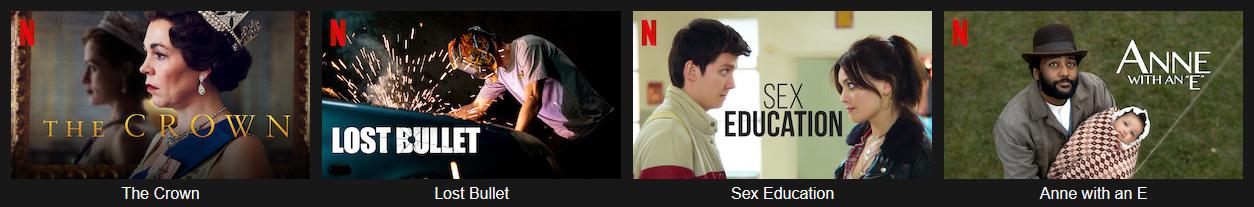 Illustration : Programmes disponible sur Netflix