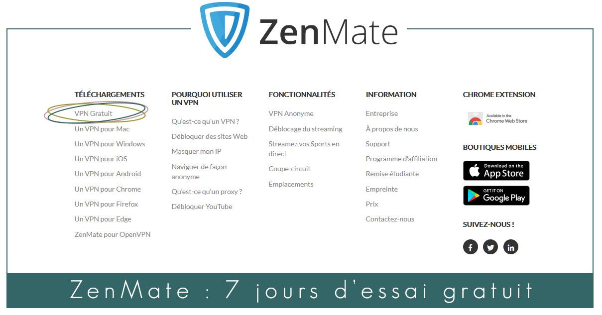 Illustration : capture d'écran d'accès au VPN non payant de ZenMate